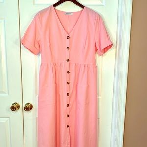 PERFECT PINK BUTTON DOWN DRESS by MISSLOOK SIZE XL